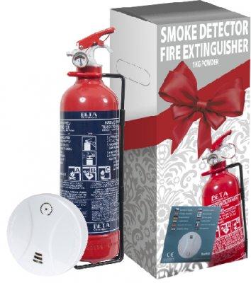 Dárkové balení - hasicí přístroj 1 kg práškový + detektor kouře