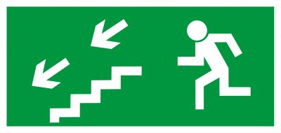 Bezpečnostní tabulka - Únikové schodiště dolů vlevo