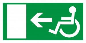Barrierefrei Rettungweg für Rollstuhlfahrer links
