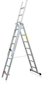 Požiarny kombinovateľný rebrík 3-dielny