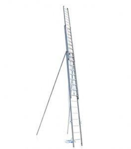JUST Typ 57 - Hliníkový výsuvný žebřík 3 - dílný s lanovým ovládáním