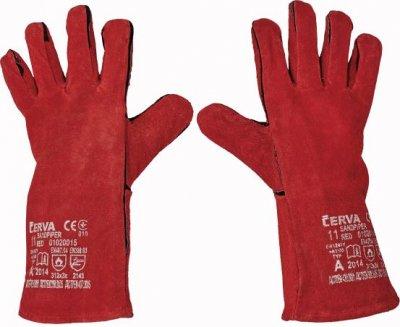 Červa SANDPIPER RED zváračské pracovné a ochranné rukavice - hovädzia koža - balenie 12 párov