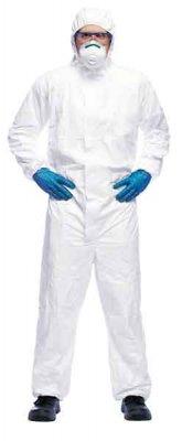 Ochranný oblek s kapucňou - biely