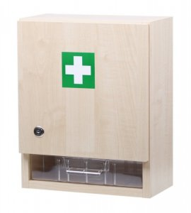 Prázdná nástěnná lékárnička velká - dekor dřevo