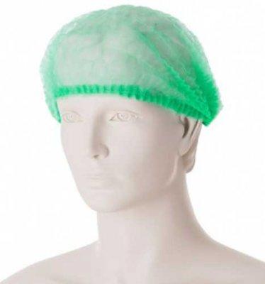 Mediskont jednorázová čepice z netkané textilie zelená - balení 100 ks