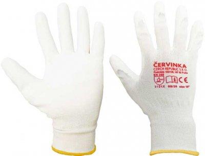 Pracovní a ochranné rukavice Červinka balení 10 párů -  bílé, polyester máčený v polyuretanu
