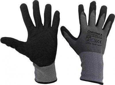 Pracovné a ochranné rukavice Červinka balenie 10 párov - šedo-čierne, polyester máčaný v nitrile