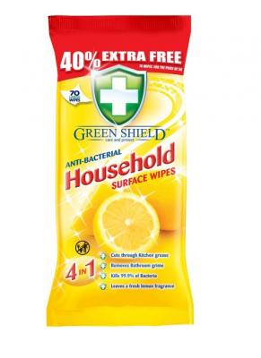 Vlhčené antibakteriální ubrousky Greenshield - citron 70 ks