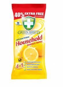 Greenshield - vlhčené antibakteriálne obrúsky - citrón 70 ks