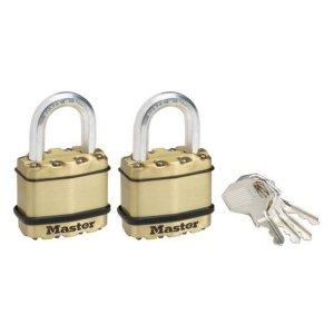 Master Lock Excell M1BEURT set 2 ks mosazných visacích zámků 45mm