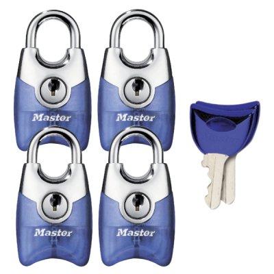 Master Lock Fusion 4630EURQAST set 4ks visacích zámků 20 mm - modrý