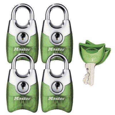 Master Lock Fusion 4630EURQAST set 4ks visacích zámků 20 mm - zelený