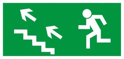 Bezpečnostní tabulka - Únikové schodiště vlevo nahoru