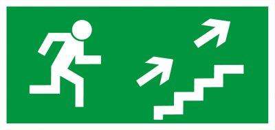 Bezpečnostná tabuľka - únikové schodisko vpravo hore