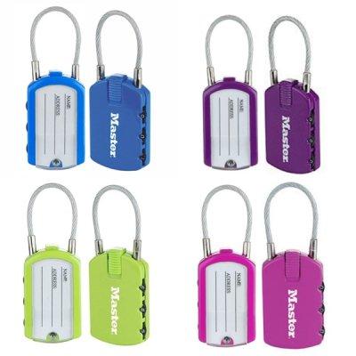 Master Lock 4684EURTCOL set 2 ks visacích zámků pro zavazadla (1 balení / 4 sety)