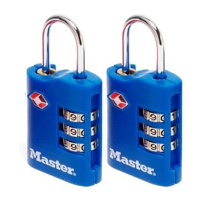Master Lock TSA 4686EURT set 2 ks kombinačních visacích zámků - modrý