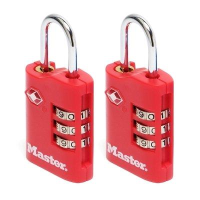 Master Lock TSA 4686EURT set 2 ks kombinačních visacích zámků - červený