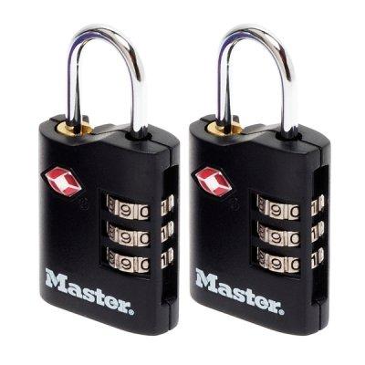 Master Lock TSA 4686EURT set 2 ks kombinačních visacích zámků - černý