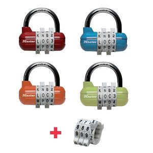 Master Lock 1534EURD set kombinačných visiacich zámkov horizontálnych (1 balenie / 4 ks)
