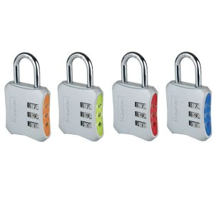 Master Lock 654EURD set dizajnových kombinačných visiacich zámkov (1 balenie / 4 ks)