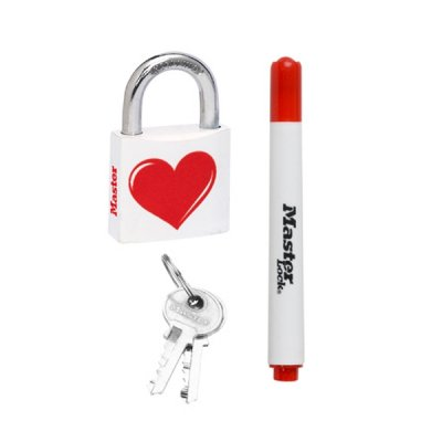 Master Lock 3430EURDLOV_heart visací zámek z pevného hliníku 30 mm