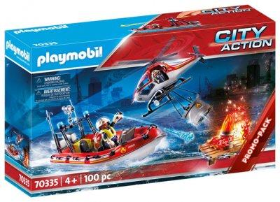PLAYMOBIL® Feuerwehrleute mit Hubschrauber und Boot