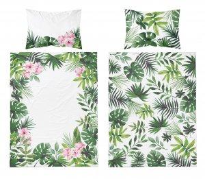 Bambusové obliečky kvety - zelenobiela