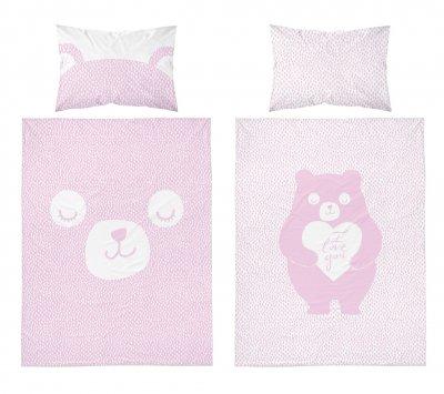 Bambusbettwäsche Teddybär - rosa-weiß