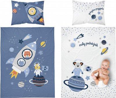 Bambusbettwäsche mit Astronaut - blau-weiß