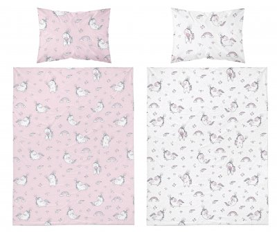 Bavlněné povlečení jednorožec - růžovobílá