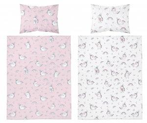 Baumwollbettwäsche Einhorn - rosa und weiß