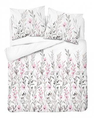 Obliečky z bavlneného saténu kvetiny - ružovobiela