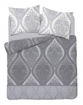 Obliečky z bavlneného saténu ornamenty - šedá