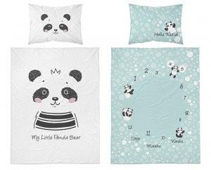 Bambusové obliečky panda - zelenobiele