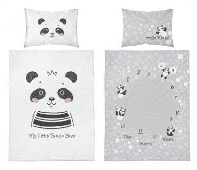 Bambusové obliečky panda - šedobiela