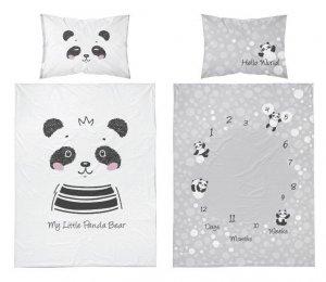 Bambusové povlečení panda - šedobílá