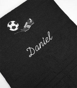 Froté osuška s fotbalovou výšivkou a jménem - černá