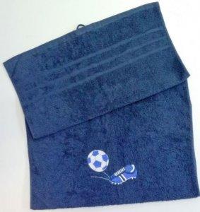Froté osuška s fotbalovou výšivkou - tmavě modrá