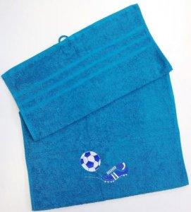 Froté osuška s futbalovou výšivkou - azúrovo modrá