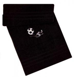 Froté osuška s futbalovou výšivkou - čierna