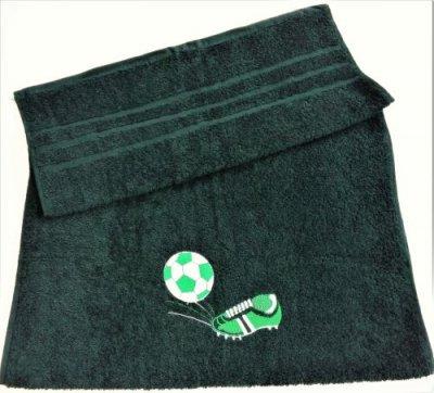 Froté osuška s futbalovou výšivkou - tmavo zelená
