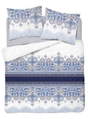 Obliečky z bavlneného saténu ornamenty - modrobiela