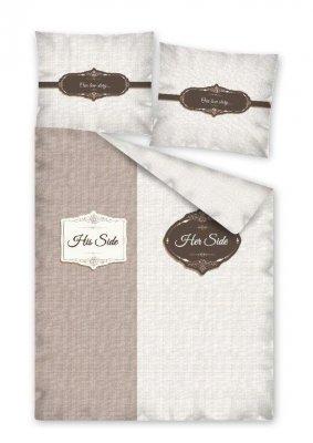 Bavlnené obliečky s rozdelením strán - hnedá