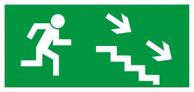 Bezpečnostní tabulka - Únikové schodiště vpravo dolů