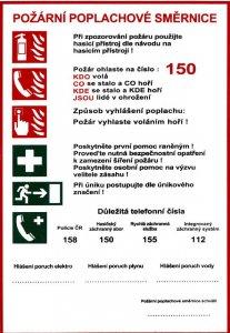 Bezpečnostní tabulka - Požární poplachové směrnice