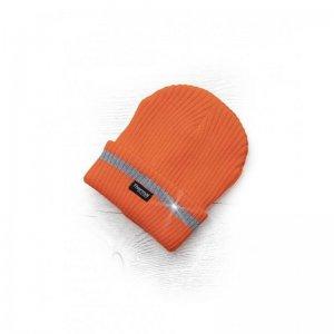 Zimní čepice pletená fleece  ARDON®SPARK s reflex. pruhem oranžová