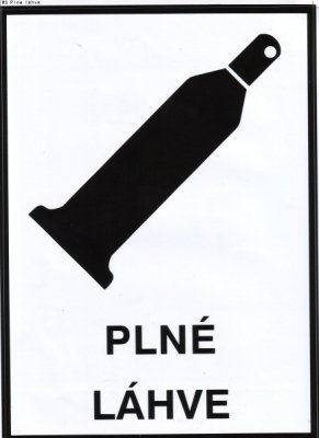 Bezpečnostní tabulka - Plné láhve