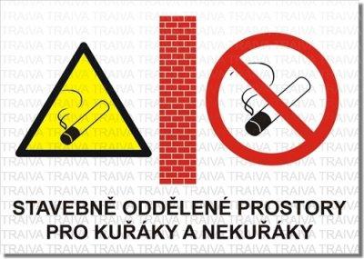 Bezpečnostní tabulka - Stavebně oddělené prostory pro kuřáky a nekuřáky